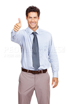Buy stock photo Portrait of a happy young male business executive gesturing an excellent job sign on white background