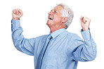 Smiling elderly business man celebrating success over white