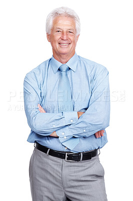 Buy stock photo Portrait of a successful old business man standing with folded hands against white background
