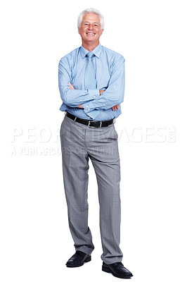 Buy stock photo Portrait of a smiling old male business executive standing with folded hand over white background