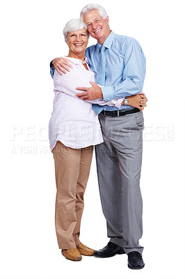 Buy stock photo Portrait of a romantic mature couple posing together and smiling over white background