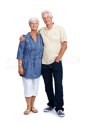 Buy stock photo Full length portrait of a happy senior couple standing together isolated over white background