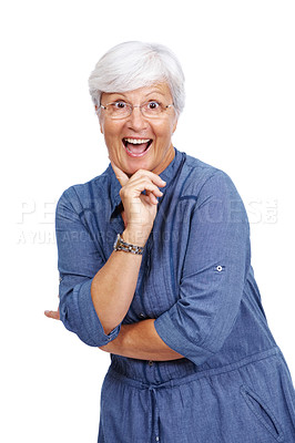 Buy stock photo Portrait of a surprised mature woman standing isolated against white background