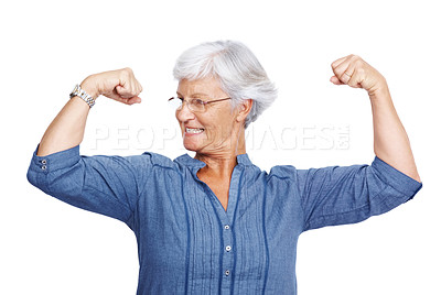 Buy stock photo Portrait of a healthy old woman flexing her biceps isolated over white background