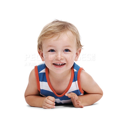 Buy stock photo Closeup portrait of a sweet little adorable child lying on floor over white background