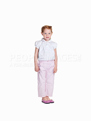 Buy stock photo Full length of a happy small girl standing isolated against white background