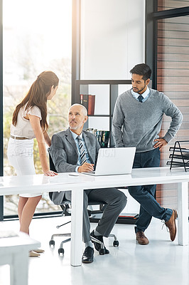 Buy stock photo Full length shot of three businesspeople using a laptop in the office