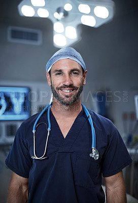 Buy stock photo Portrait of a confident surgeon standing in an operating room