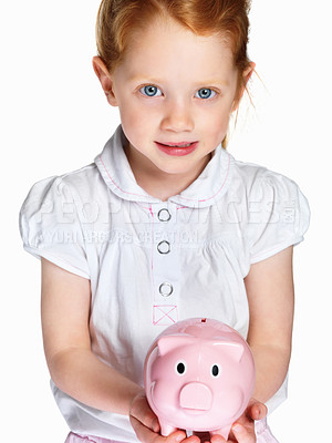 Buy stock photo Closeup portrait of a little girl with piggybank isolated against white