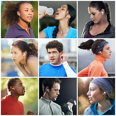 Buy stock photo Composite image of fit people using wireless earphones during their workout routines