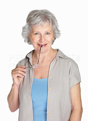 Buy stock photo Portrait of a happy mature female holding glasses isolated against white
