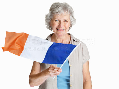 Buy stock photo Portrait of a happy senior female holding a flag of France against white