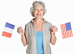 Woman holding flag of France and united states against white