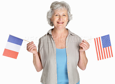 Buy stock photo Portrait of a happy mature woman holding flag of France and united states against white