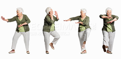 Buy stock photo Multiple exposure of a mature woman gesturing karate sign against white