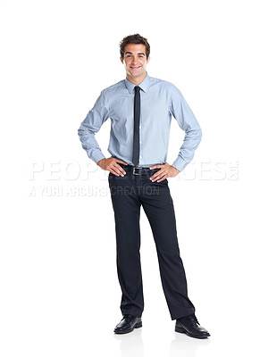 Buy stock photo Full length portrait of confident young businessman standing on white background
