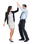 High five - Young business colleagues celebrating success on whi