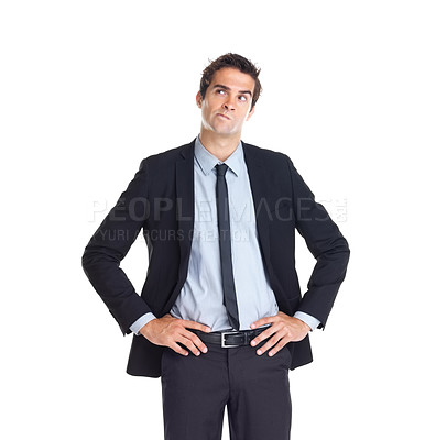 Buy stock photo Portrait of young thoughtful male business executive isolated on white background