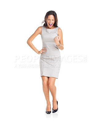 Buy stock photo Pretty joyous businesswoman celebrating success isolated over white background