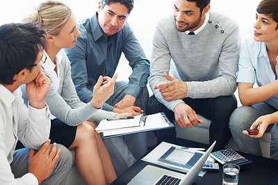 Buy stock photo Business woman discussing project with colleagues during meeting