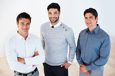 Buy stock photo Portrait of three successful business men smiling