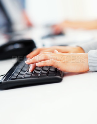 Buy stock photo Cropped image of business woman's hands typing on the computer keyboard