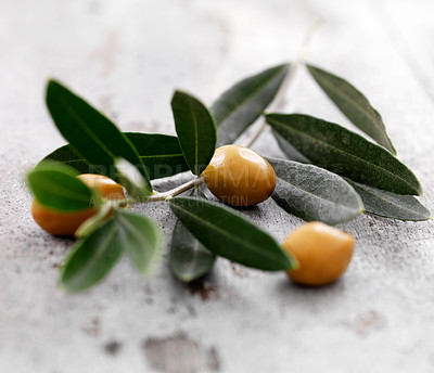 Buy stock photo Fresh olives with olive branch on wood background