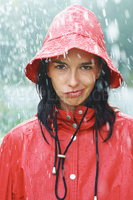 Buy stock photo Pretty woman in rain making a face