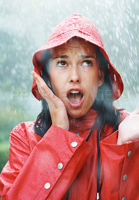 Buy stock photo Woman frustrated with the weather
