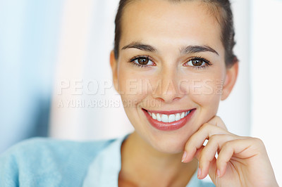 Buy stock photo Closeup of smiling woman resting face on hand
