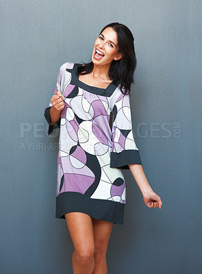 Buy stock photo Happy woman dancing