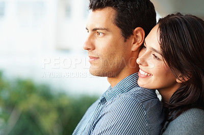 Buy stock photo Closeup of young woman embracing her boyfriend