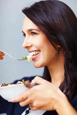 Buy stock photo Closeup of happy young woman having healthy breakfast
