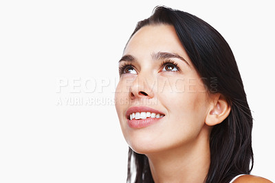 Buy stock photo Closeup portrait of young woman looking at copyspace