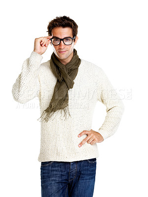Buy stock photo Portrait of stylish young man wearing glasses isolated on white background