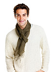 Happy young male fashion model on white