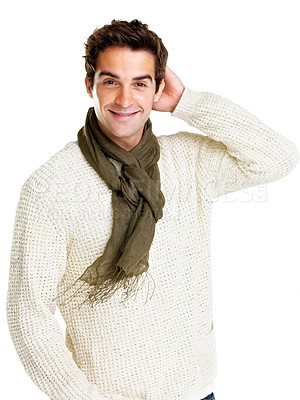 Buy stock photo Portraot of stylish young male model posing on white background