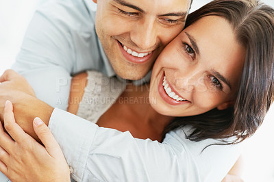 Buy stock photo Closeup of romantic couple smiling together