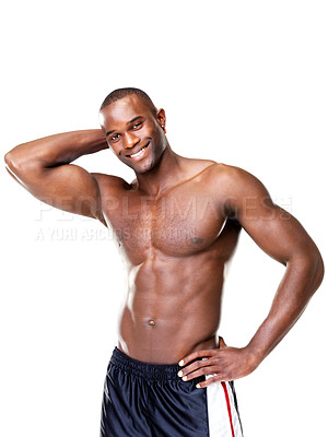 Buy stock photo Portrait of a happy African American man showing off his muscual physique against white background