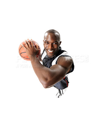 Buy stock photo Portrait of a young basketball player in action isolated on white background