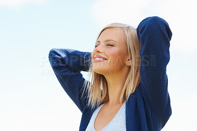 Buy stock photo Closeup of beautiful female with eyes closed enjoying the sun