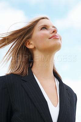 Buy stock photo Closeup of young business woman looking away