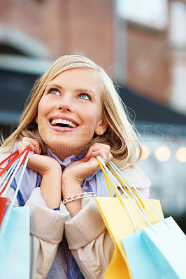Buy stock photo Happy woman with shopping bags