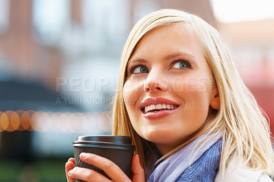Buy stock photo Thoughtful pretty woman enjoying coffee - outdoors
