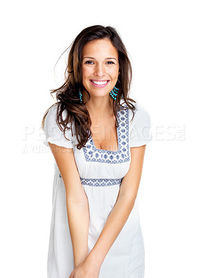 Buy stock photo Portrait of a happy young woman smiling against white background