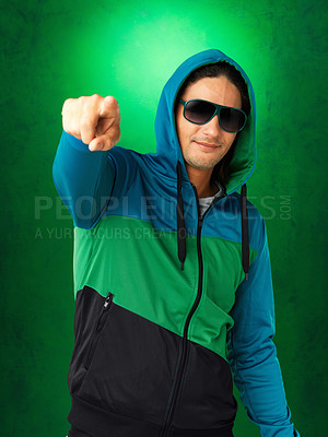 Buy stock photo Attractive man in sunglasses and jacket pointing at you