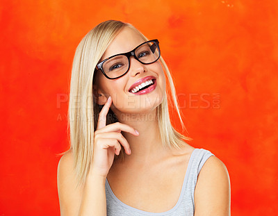 Buy stock photo Closeup of pretty woman in glasses looking at you