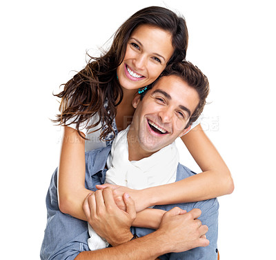 Buy stock photo Portrait of a happy young couple having fun together against white background