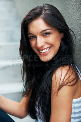 Buy stock photo Closeup portrait of a pretty young female lookng confidently - Copyspace