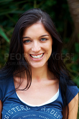 Buy stock photo Closeup portrait of a beautiful young woman looking happy